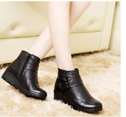 Wholesale Size 41 Wedges - 2016 Snow boots shoes women genuine leather large yard winter boots women boots warm plush winter shoes Big Size 35-41 D#16100901