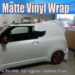 Envío de vinilo online-Vinilo blanco mate Car Wrapping Matt White Película con burbujas de aire Gráficos automáticos de Matt Foile gratis que cubren el tamaño de la piel 1.52x30m / Roll Envío gratuito