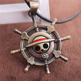 Wholesale Onepiece Men - Onepiece Punk Rock Style Gothic Necklace Men Jewelry Gold Color One Piece Jewelry Vintage Japan Anime Skull With Anchor T039