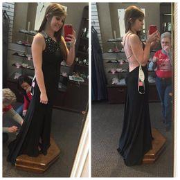 Wholesale One Shoulder Open Back Slit - Black Jeweled One Shoulder Long Fitted Jersey Prom Dress 2016 with Front Slit Multi-straps Open Back
