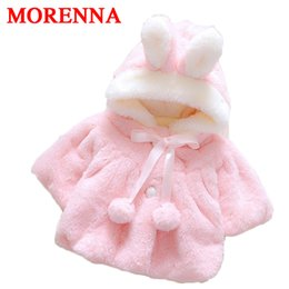 Wholesale Warm Jackets For Girls - MORENNA Newborn baby girl winter warm coat hairy rabbit ears hat hair ball cute clothes for 0-2 years old baby girls