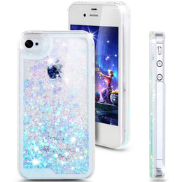 Wholesale Iphone 4s Case Heart Plastic - Fashion Creative Design Flowing Liquid Floating Luxury Bling Glitter Sparkle Love Heart Hard Case for Apple iPhone 4 4s 5 5s 6 6 plus