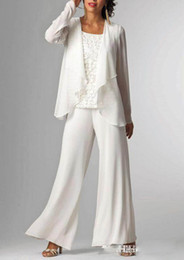 Wholesale Ladies Evening Jacket Dresses - White Chiffon Lady Mother Pants Suits with Jacket Mother of The Bride Dresses 3 Pieces Formal Mother Evening Dresses Hot Sale