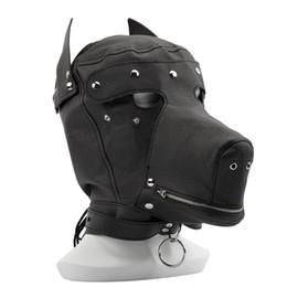 Wholesale sex eye mask - Adult games Fetish hood mask,Black Dew Mouth eye Slave Hood Mask,Sex Product Toys BDSM Bondage Hoods Dog Mask dog bondage sex