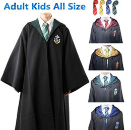 Wholesale Ravenclaw Cloak - Harry Potter Cosplay Costumes Cloak Cape Gryffindor Slytherin Hufflepuff Ravenclaw Robe&Tie Adult Kids