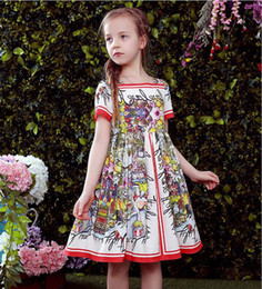Wholesale American Castles - Summer star with the girl,new Girls Summer Dress cotton flower castle full printed short sleeved Princess Dress Girls dress Free Delivery