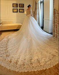 Wholesale beaded satin wedding dress - Real pictures Gorgeous Wedding Dresses 2018 Half Sleeves Illusion Bodice Overskirts V-neckline Long Steven Khalil Bridal Gowns Dress
