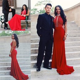 Wholesale Beaded Halter Mermaid Plus Size - 2016 Burgundy Red Halter Backless Long Mermaid Prom Dresses Mermaid Crystals Beaded Plus Size African Arabic Formal Evening Party Gowns