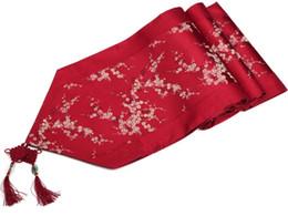 Corridore di panno di lusso online-Patchwork nodo cinese Seta Runner Cherry Blossoms di lusso caffè damasco Tovaglia Runners rettangolare Tavolo da pranzo Mat 200x33 cm