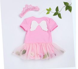 Wholesale crowning dress girls - Baby Clothing Set Girls Cute Angel's Wings Set Baby Romper Skirt Suits Lovely Baby Girls Dress Romper with Crown Headband 2pcs set