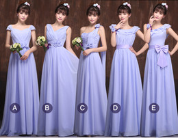 Wholesale Violet Gowns - Pleated Long Chiffon Bridesmaid Dress Violet 2016 Floor Length Formal Gowns Lace Up Back Fast Shipping