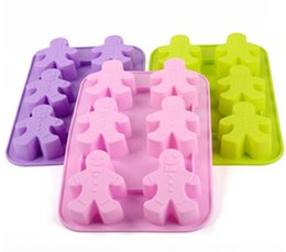 Wholesale ginger people Cake Mold Flexible Silicone Soap Mold For Handmade Soap Candle Candy bakeware baking moulds kitchen tools ice molds