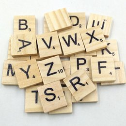 Wholesale Wood Toy Christmas - 100PCS Wooden Scrabble Tiles Black Letters Numbers For Crafts Wood Alphabets Blocks Toys Wholesale prices Krystal