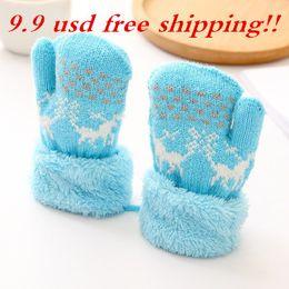 Wholesale Children Gloves Wool - Kids Children Mittens Gloves Unisex Winter Warm Lanyard Glove Boy Girl's Wool Knitted Luvas Covered Fingers Mittens Gloves 77