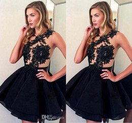 Wholesale Teen Sexy Dress - Jewel Hollow Back Homecoming Dresses For Teens Party Ruched Above Knee Sexy Short Homecoming Dresses Lace Appliques Simple Cocktail Gowns