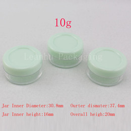 Wholesale Ps Mini - 10g green small empty cosmetic packaging cream jar 10ml sample plastic bottles container , PS Mini cream container lip balm tin