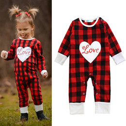 Wholesale Infant Girl Plaid Rompers - INS Baby Girl Christmas Rompers Long Sleeve Plaid Infant One Pieces Rompers 2017 Heart Letter Kids Girls Jumpsuit Clothes Outfits A004