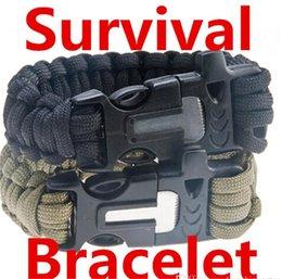 Wholesale Survival Bracelet Whistle Clasp - Survival Bracelets Flint Fire Starter Paracord Whistle Gear Buckle Camping Ignition Equipment Resure Rope Escape Bracelet Kit 4 in 1