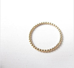 Wholesale Wholesales Ladies Gift Sets - Slim stacking ring beaded gold ring, gold ring with thin 18 k gold ring beads lady is the best gift