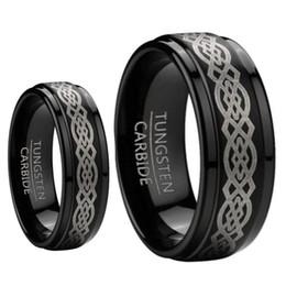 Wholesale Laser Tungsten - 8mm Men & 6mm Women Black Tungsten Carbide Unscratchable Wedding Band Ring Set W laser Etched Celtic Design