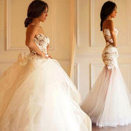 Wholesale Strap Tight Skirts - Latest Sexy Illusion Bodice Strapless Tight Package Hip Mermaid Wedding Dresses with Detachable Skirt Sheer Back Tulle Lace Wedding Gowns