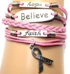 Wholesale Black Moonstone Ring - Fashion Breast Cancer Bracelets Believe Faith Hope Leather Bracelet Personality Handmade Bracelets Christmas Gift Charm Jewelry