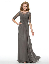 Wholesale Dresse Bride - gracefully Half Sleeves Scoop Beaded and Ruched Composite Silk Chiffon Skirt Mother of the Bride Dresse Formal Evening Dresses