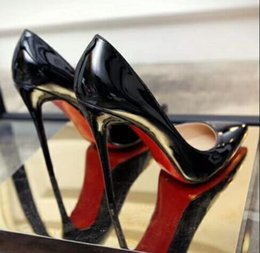 Wholesale Classic Stiletto Heels - 2018 Hot Selling Designers Classic Brand Women Black Pointed Toes Red Bottom Dress Shoes, Patent Leather Wedding Party Shoes 12cm 10cm 8cm