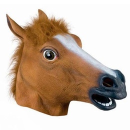 Wholesale Halloween Costume Horse Head - 2016 Creepy Horse Mask Head Halloween Costume Theater Prop Novelty Latex Rubber 2 colors hot selling