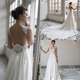 Wholesale Thick Lace Gowns - Thick Chiffon Pearls Wedding Dresses Spaghetti Neckline Sleeveless Backless A Line Bridal Gowns Sweep Train Wedding Gown