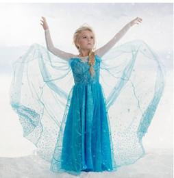 Wholesale Samgami Dress - Hot Selling!!! Samgami baby elsa frozen fever dress blue snowflake dress long cape dress elsa queen costume free shipping in stock