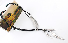 Wholesale Costume Silver Necklace - 5pcs Costume Necklaces Feather Leaves Inlaid Diamond Black Leather Cord Multilayer Tassel Necklace Antique Gold Silver Plated E793E