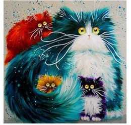 Wholesale Framed Embroidery - NO Frame! Hot Colorful Cat Diy 5D Diamond Painting Cross Stitch Full Diamond Embroidery Home Decor Square Drill Animal Series Best Gift zx