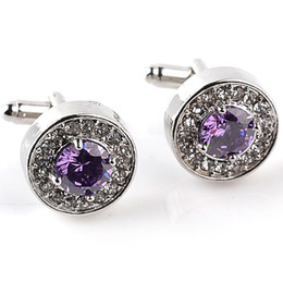 Wholesale Brand Design Jewelry - Classic Luxury Crystal Cufflinks for Mens Shirt Light Purple Zircon Cufflinks High Quality Fashion Swarovski Brand Jewelry Design
