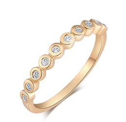 Wholesale Slimming Plant - New Fashion Korean Hot Trendy 18k Yellow Gold Plated AAA Round CZ Slim Ring for Women Nice Birthday Gift for Girls HR-086