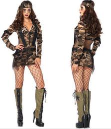 Espía largo online-Club nocturno sexy con cuello en V correa de camuflaje espía femenino de manga larga barra de rendimiento de la etapa de cosplay ropa de camuflaje