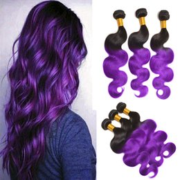 Wholesale Two Tone 1b Hair - 8A Brazilian Body Wave Ombre Color Two Tone 1B Purple 3 Pcs Hot Human Hair Extensions Wholesale Bellqueen Bundles Brazilian Hair