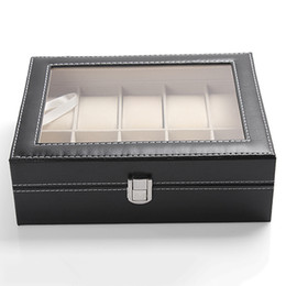 Wholesale Wrist Watch Case Box - Wholesale-10 Slots Organizer Case Faux Leather Storage Holder Wrist Watch Display Box