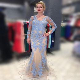 Wholesale Red Logs - Plus Size Mermaid Mother Of Bride Dresses Blue Lace Appliques Illusion Log Sleeves Women Evening Gowns Tulle Mermaid Prom Party Dress