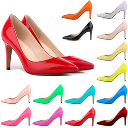 Wholesale orange high heel wedding shoes - Zapatos Mujer Women Patent Leather Mid High Heels Pointed Corset Work Pumps Court Shoes Us 4-11 D0074