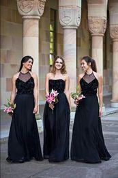 Wholesale Halter Wedding Dress Strapless - Elegant Black Strapless Long Bridesmaid Dresses 2018 Sheer Neck Halter A Line Chiffon Lace Formal Wedding Party Guest Wear Custom Made