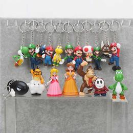 Wholesale Mushroom Retail - Super Mario 18pcs set PVC Super Mario Bros keychain Luigi Yoshi Peach Mushroom Toad Shy Guy Action Figures Gift OPP retail