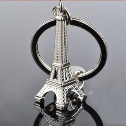 Wholesale Wholesale Advertising Clocks - Lovers Key Ring Advertising Gift Keychains Retro Eiffel Tower Key Chain Tower French France Souvenir Paris free shipping
