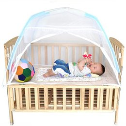 Wholesale Doors Canopy - Wholesale- 115*70*70cm Baby Bed Mosquito Net Folding Mosquito Net Tent Children Bed Baby Bed Canopy Infant Crib Netting Kids Camping Tent