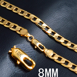 Wholesale Necklace Long 8mm - 8MM (20inch Long) Womens Chain CURB Chain Necklace Flat Cut 18k Gold Filled Jewelry Party Daily Wear