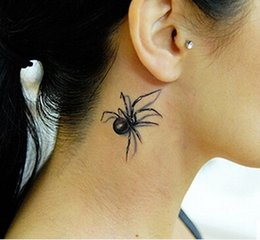 Wholesale Girl Butterfly Tattoos - 3D Temporary tattoo sticker lifelike spider colorful butterfly spider flower fake tattoos flash tatto stickers for girl women lady kid
