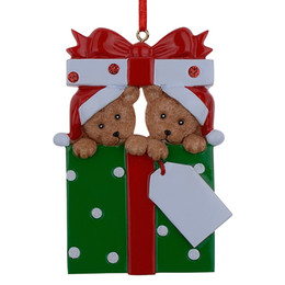 Resina all'ingrosso Famiglia di 2 ornamenti natalizi Regalo personalizzato Scrivi il tuo nome per la decorazione della casa in miniatura da ornamenti in miniatura all'ingrosso fornitori