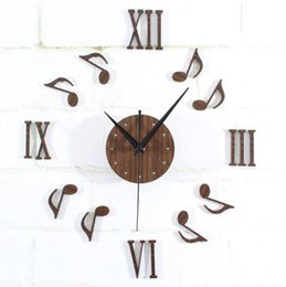 Wholesale Classical Music Free - Classical 3D music melody notes DIY wall clock,creative free combination home decorative mute wall stickers clock modern design