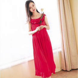 Wholesale Long Nightwear Dress - Wholesale-Women Sexy Nightgowns Lace Plus Size Sleep Dress Nightwear Silk Ladies Long Section Home Dress Summer Style