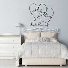 Wholesale Love Romantic - Love Wall Decals Customer-made Couples Name Romantic Personalised Together forever Hearts Bedroom Wall Art Sticker